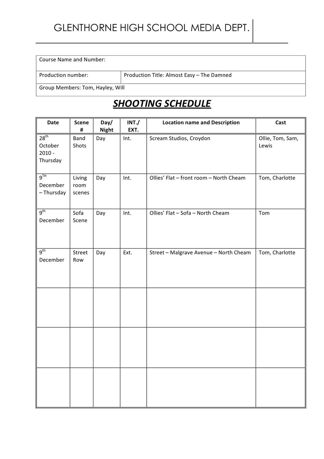will hayden shooting schedule. Black Bedroom Furniture Sets. Home Design Ideas