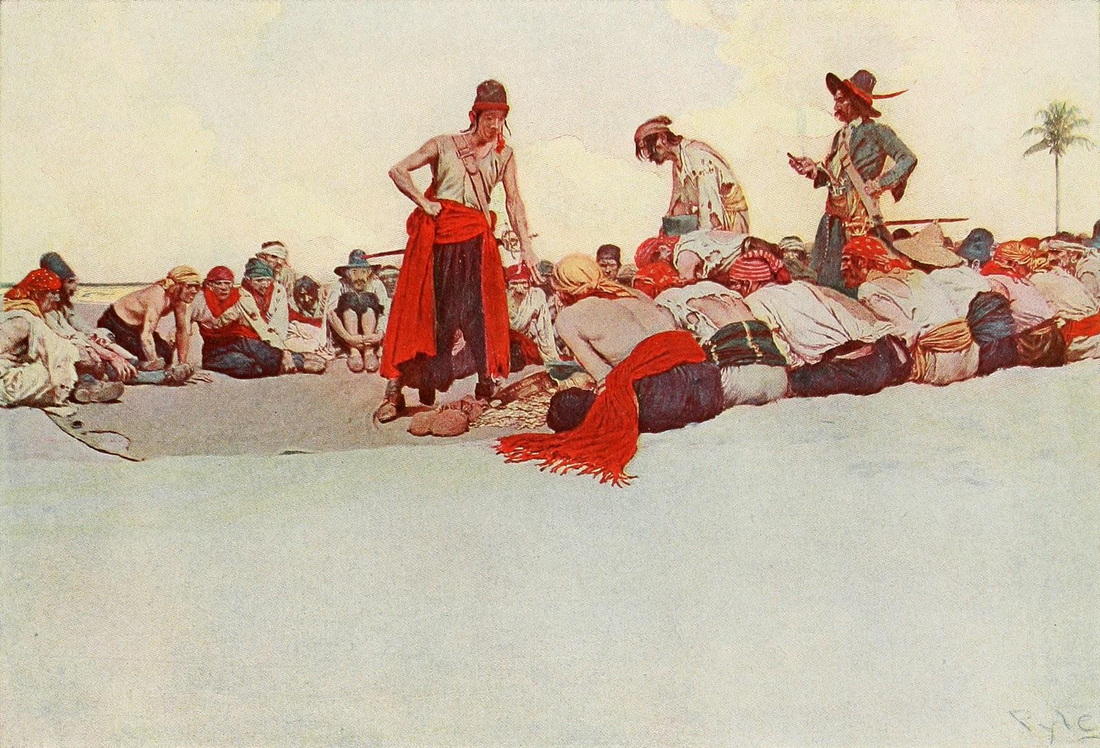 Говард Пайл. Пираты делят на берегу награбленные сокровища