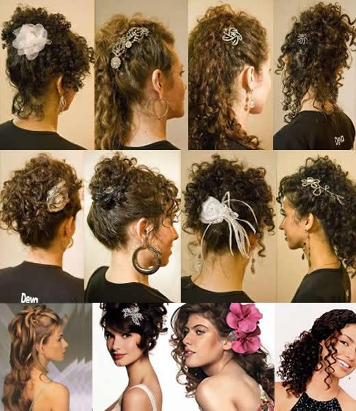 Penteados madrinhas e noivas cabelos cacheados ou enrolados