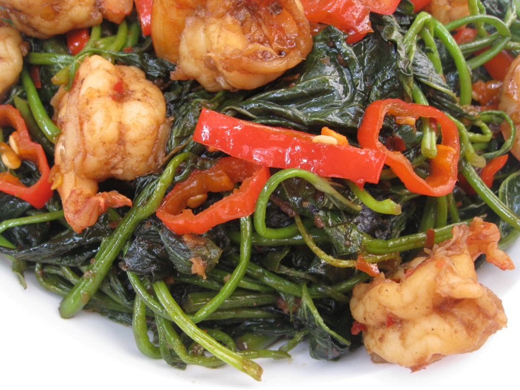 Stir Fry Sweet Potato Leaves With Shrimp In Sambal Paste My Asian Kitchen
