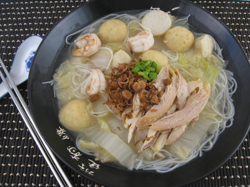 My asian kitchen fish ball chicken and shrimp rice for Rice noodle fish