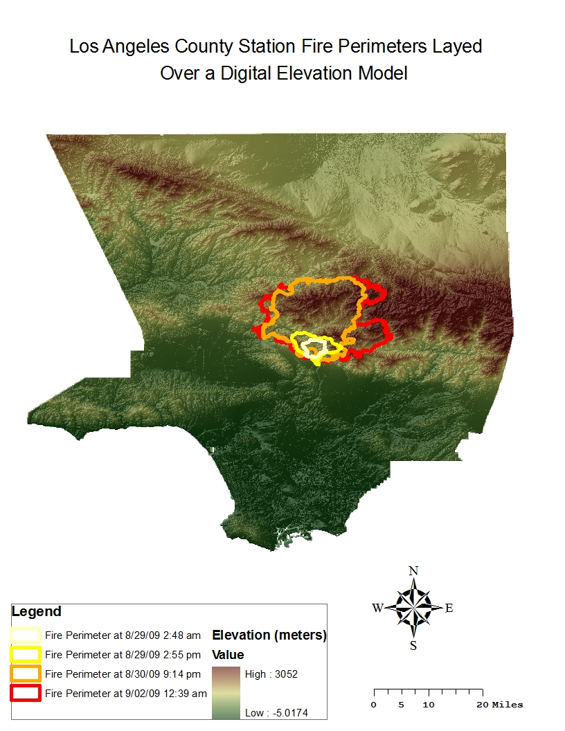 the map below shows the perimeters of the station fire hospitals and major highways of los angeles county all laid over a digital elevation model