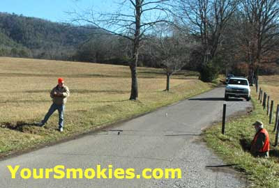 surveyors already measuring the Cades Cove 11 mile loop