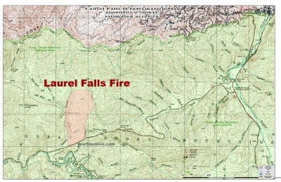 Laurel Falls fire which is East of Elkmont and West of the Sugarlands TN