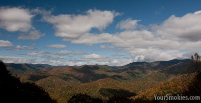 Blue Ridge Parkway in North Carolina fall color has painted the slopes and valleys in reds, yellows and oranges.