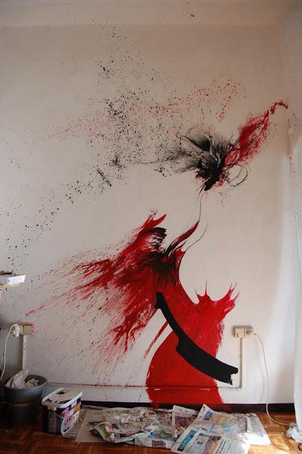 ROJO Y NEGRO. Acrílico sobre pared. Particular, Barcelona