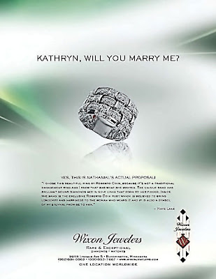 Wedding Proposal Roberto Coin Ring in Magazine Ad