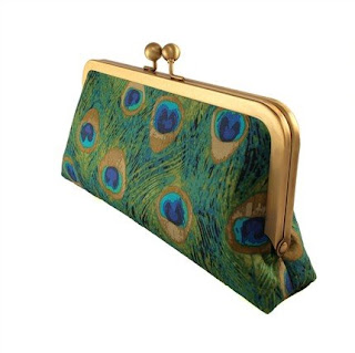 Pretty as a Peacock in Green Pencil Purse