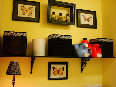 black and yellow laundry room