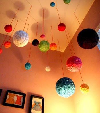 Yarn balls brooklyn bride modern wedding blog - Hanging planets decorations ...