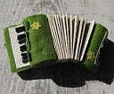 green accordion felt brooch
