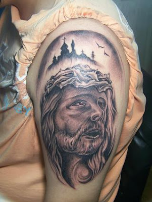 King portrait tattoo with a castle at night as background