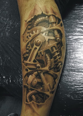 free robot leg tattoo