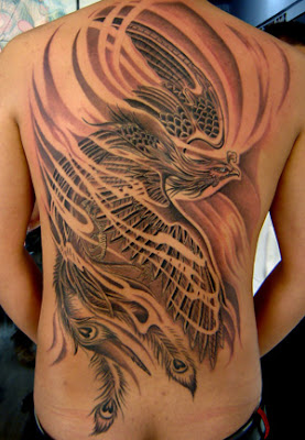 magnificent full back phoenix tattoo