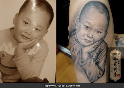portrait photo tattoo on the arm
