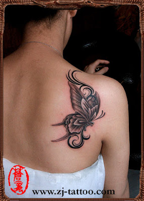Butterfly tattoo on the back