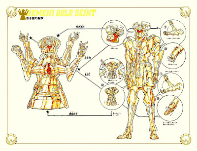 a sketch showing how to wear the Gemini gold saint cloth