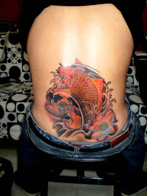 koi tattoo design on the hip