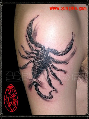 The scorpion in this free tattoo design has an interesting tail - perfect