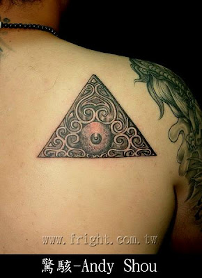 Triangle and eye abtract tattoo design