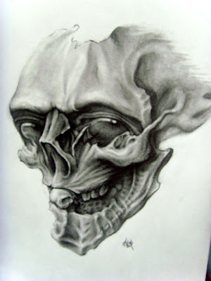 Instead of a completed tattoo, here is a sketch of a free skull tattoo