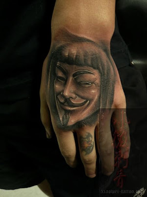 hand tattoo design, free, guy fawkes, V for Vendetta