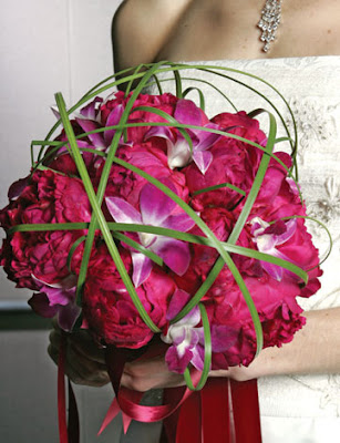 Bridal Bouquet of Red Peonies and Pink Orchids