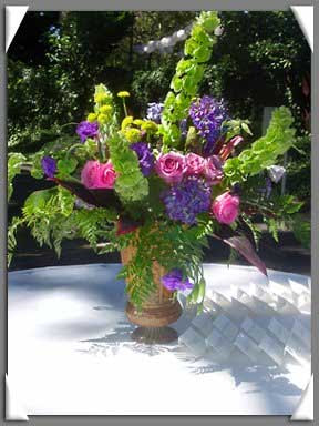 Bellsofireland Flowers on Flower Arrangements With Green Button Mums  Bells Of Ireland  And Pink