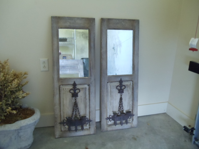 Pair Of Chalky Painted Gray Mirrors Made From Reclaimed Door Panels With  Antique Iron Sconces.. You Could Electrify Them If You Choose.