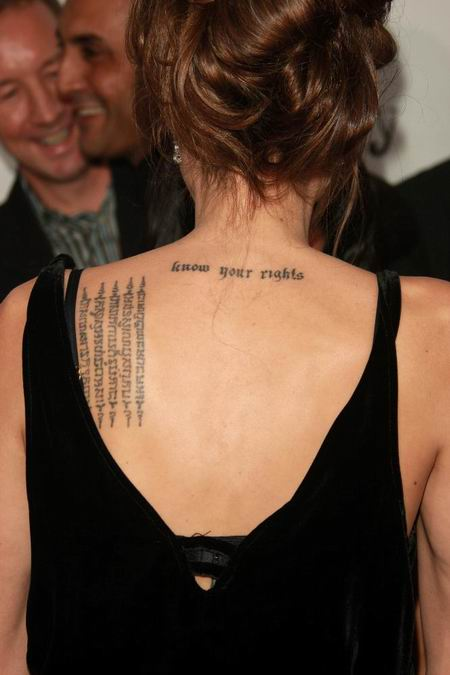 "Angelina Jolie has the phrase ""know your rights"" tattooed just below the"