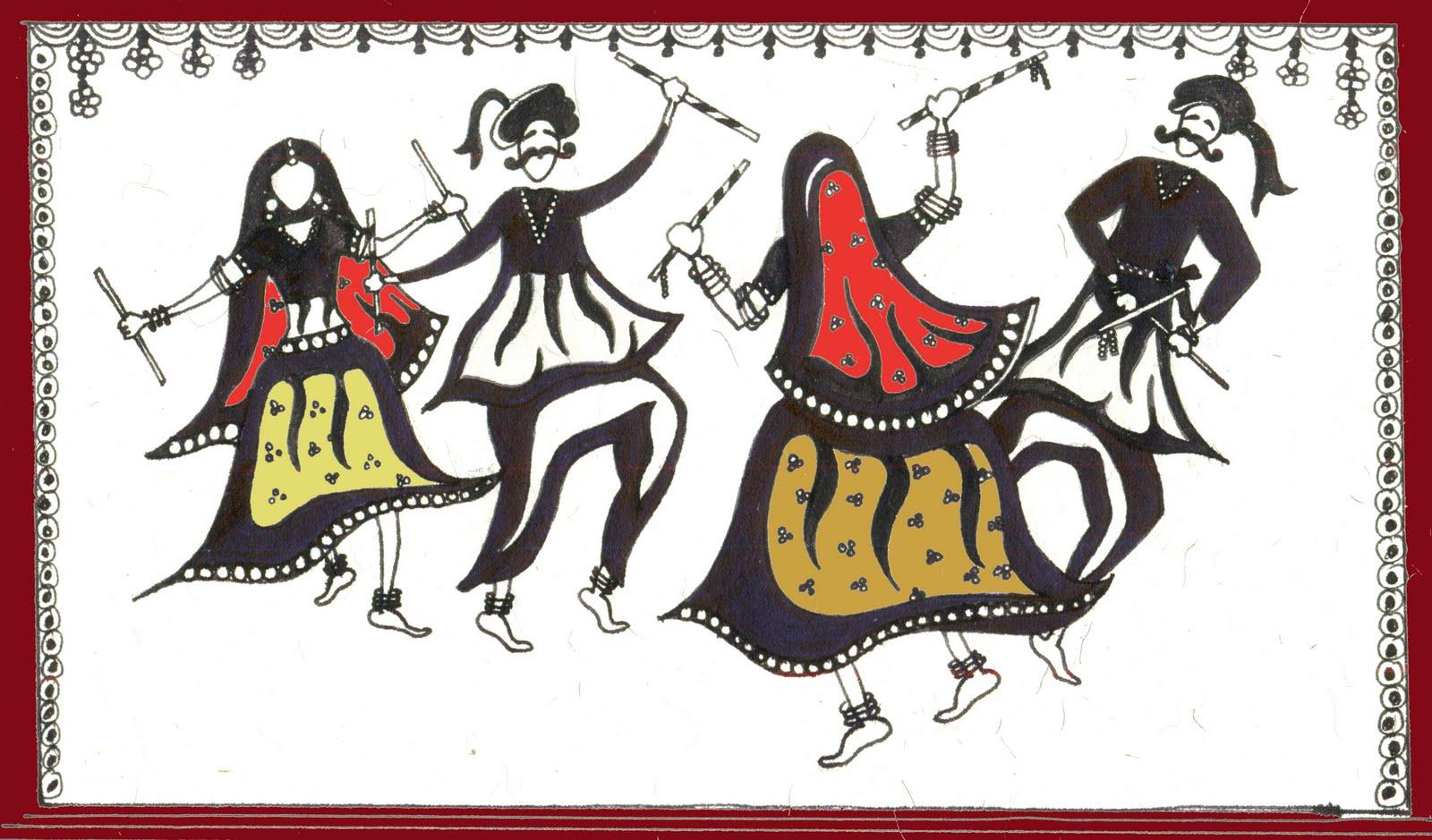 PENNED DOWN   Dandiya RaasDandiya Dance Clipart