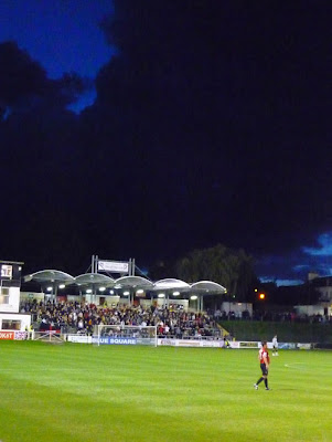 Black cloud over Lewes FC, East Sussex, UK