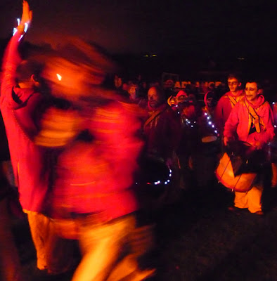 Dancing at the Southover Bonfire Society fire site, Lewes 2009, image by Oliver Gozzard