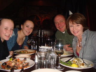 Devan, Shelby, Jason Matthews and Jana Matthews enjoying dinner at Pianeta Ristorante Truckee CA