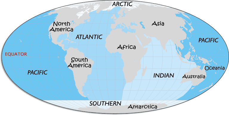 name the 7 oceans from largest to smallest