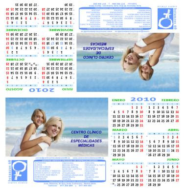 Diseño del calendario semestral de sobremesa