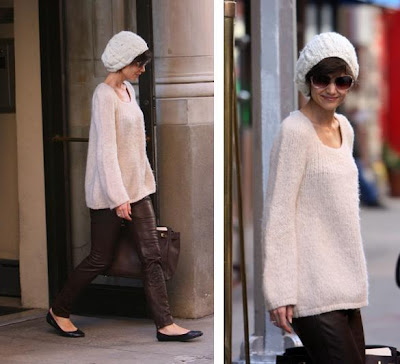 Katie Holmes Street Style on Katie Holmes  Brown Late Leggings  Hmmm   She Looks Cute Overall