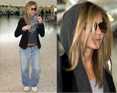 Jennifer Aniston. I'm liking her casual yet put together airport style here.