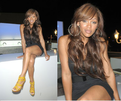 Megan Good. Nice shoes, she looks cute.