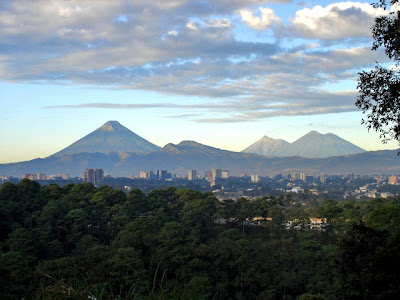 Volcanoes seen from the city