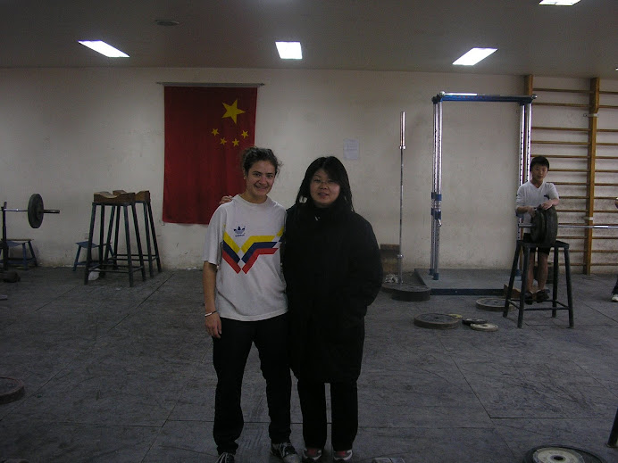 Gwen with Chinese coach of junior team at Chaoyang Ti Yu Chang (Beijing)