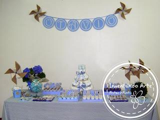 chá de bebê festa infantil vintage azul