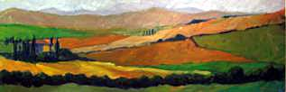Tuscan countryside 18x60 oil