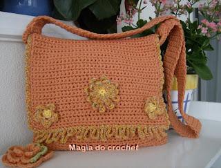 mala crochet trapilho flores