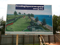 Sign with redition of future Otres Beach Sihanoukville