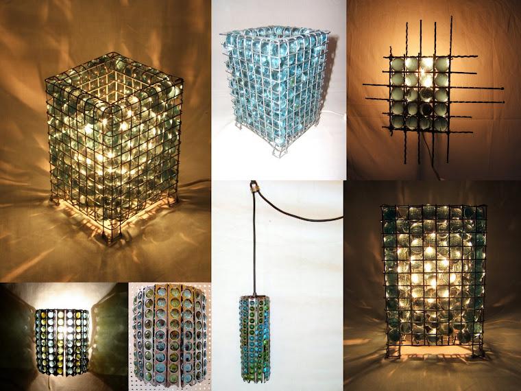 Luminárias bolas de gude