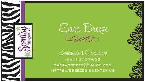 Scentsy Business Card Templates http://4henleysinahouse.blogspot.com/2011/02/scentsy-by-sara.html