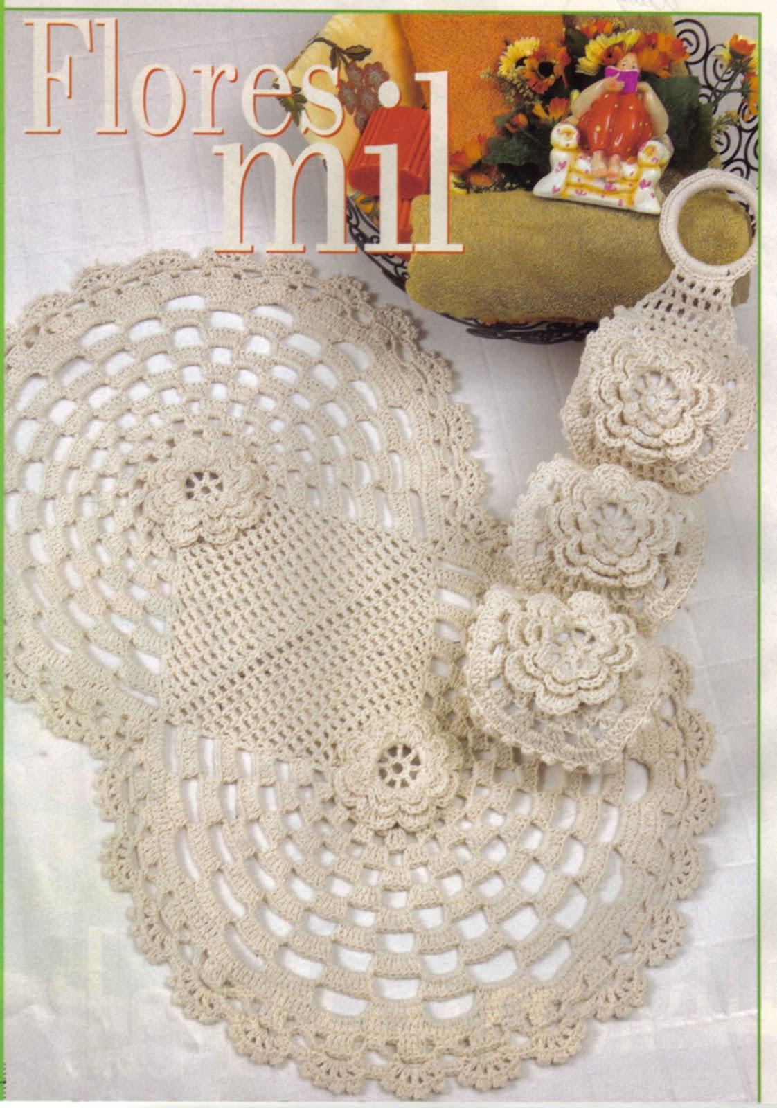 Conjunto Banheiro Barbante em Crochê com Flor- Gráficos