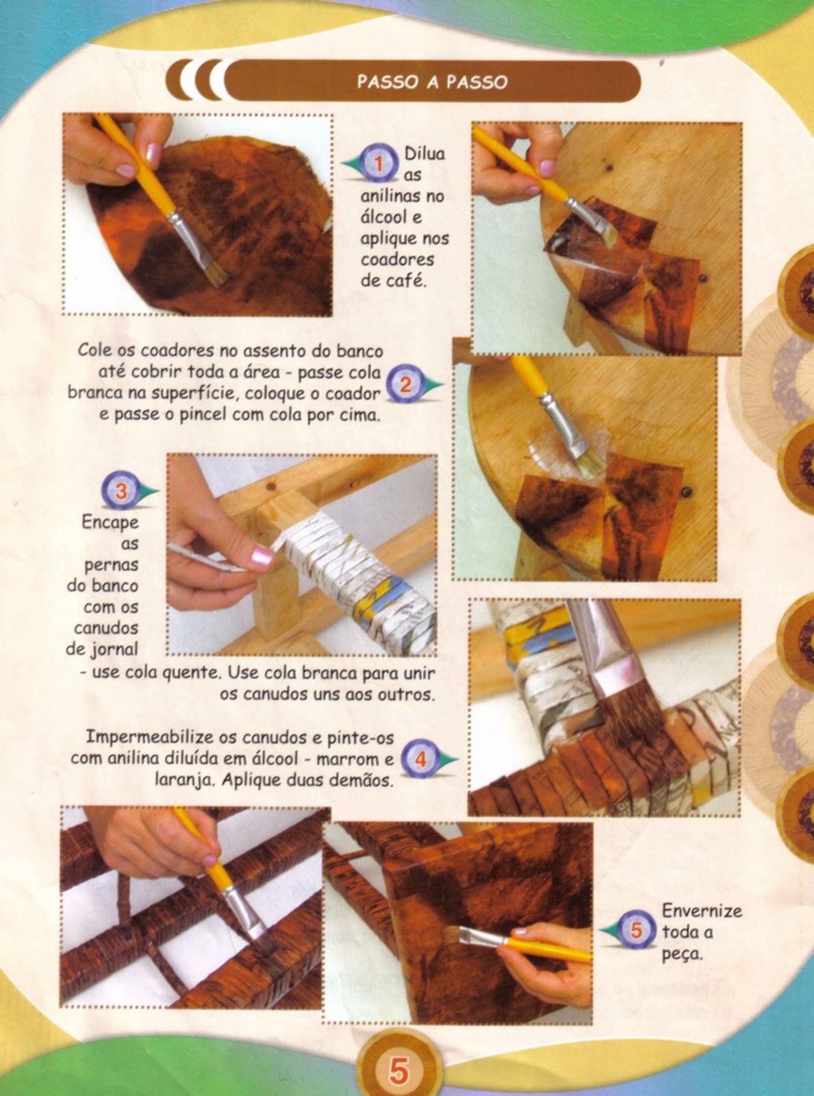 Banco de Madeira Revestido com Coador de Papel Usado e Jornal  Passo a #A06C2B 1189x1600