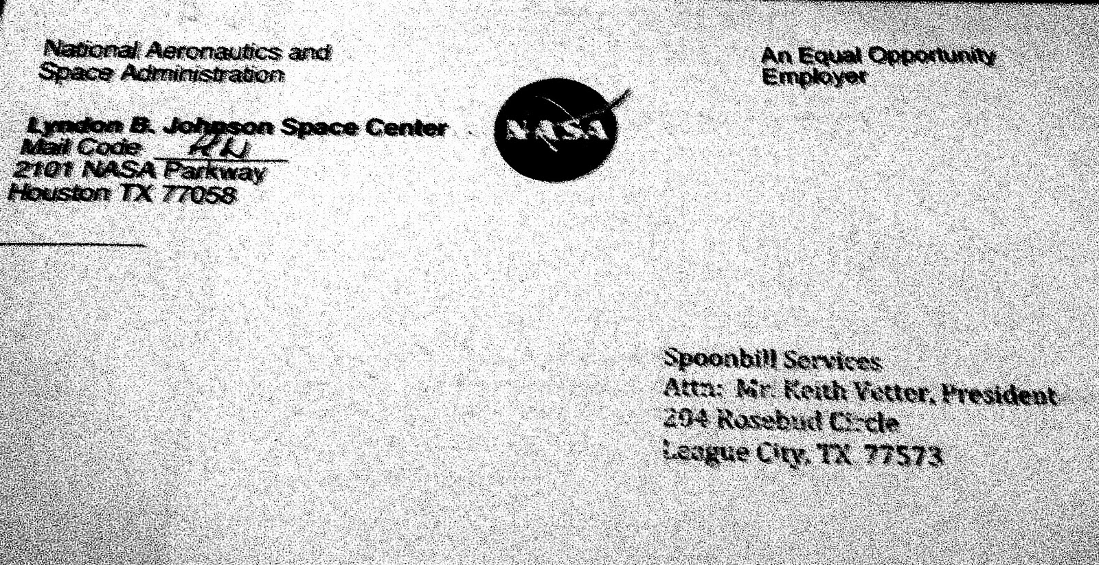 Nasa Writes To Spoonbill